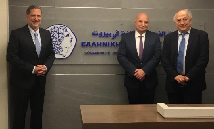 Με τον πρόεδρο της ελληνικής κοινότητας κ. Π. Ανδριώτη και τον πρέσβη της Ελλάδας κ. Θεόδωρο Πασσά.
