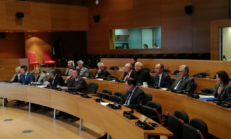 Στην 1η συνάντηση της Επιτροπής συνεργασίας της Βουλής των Ελλήνων και της Εθνοσυνέλευσης της Δημοκρατίας της Σερβίας στην αίθουσα του Δημοτικού Συμβουλίου του Δήμου Θεσσαλονίκης.